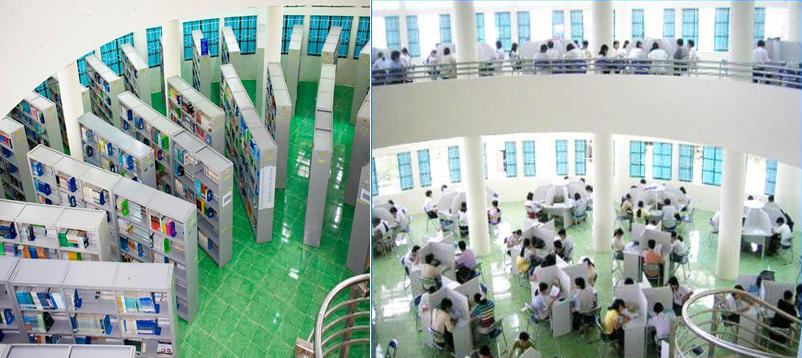 Kho sách tham khảo và quang cảnh học tập tại Thư viện