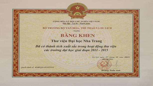 Bằng khen Thư viện ĐH Nha Trang